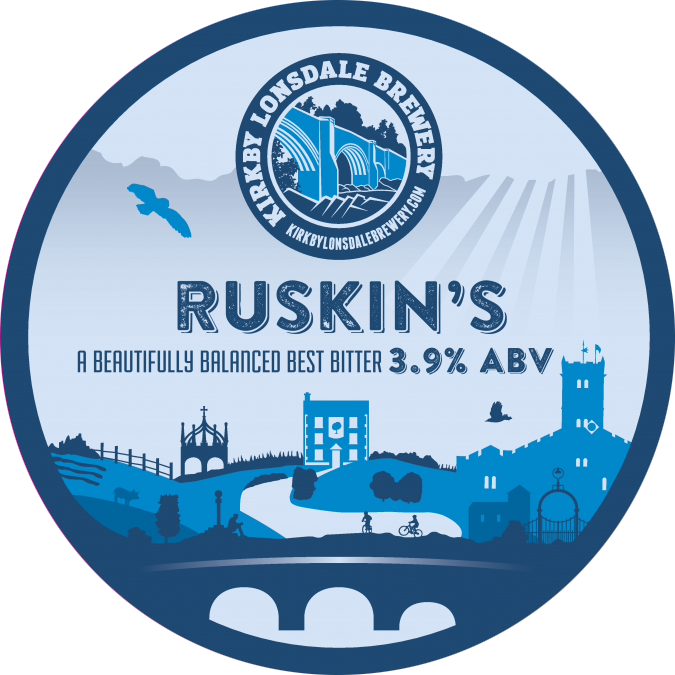 Kirkby Lonsdale Brewery Ruskin's Best Bitter Pump Clip
