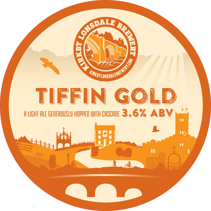 Kirkby Lonsdale Brewery Tiffin Gold Ale Pump Clip